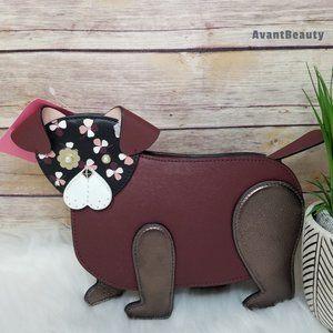 Kate Spade Floral Pup Dog Crossbody Leather Bag